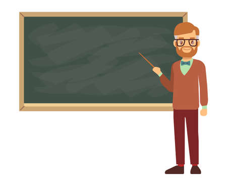 Teacher, professor standing in front of blank school blackboard vector illustration. School teacher in glasses, male teacher near blackboard Vector Illustration