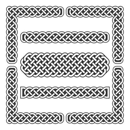 Celtic knots vector medieval borders and corner elements. Corner frame scottish illustration Vecteurs