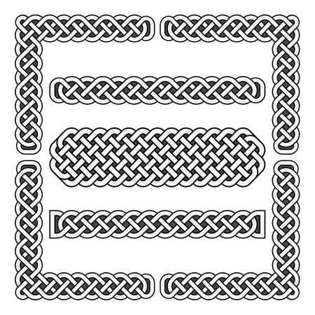Celtic knots vector medieval borders and corner elements. Corner frame scottish illustration Vektorové ilustrace