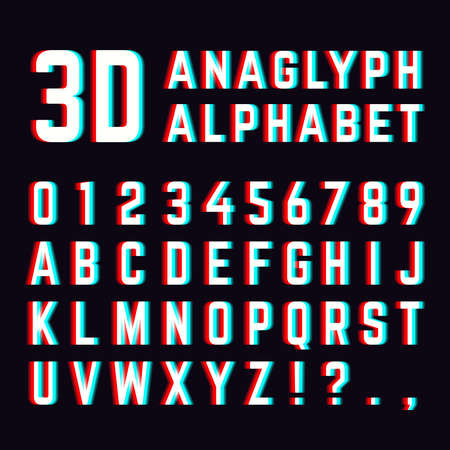 Stereoscopic distortion, 3d anaglyph font alphabet letters. Alphabet distorted digital. Vector illustration