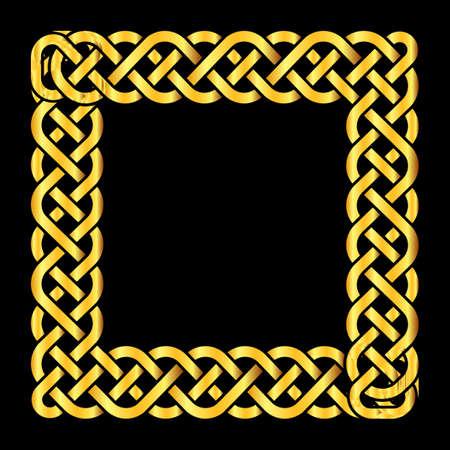 Square golden celtic knots vector frame. Decoration element isolated illustration