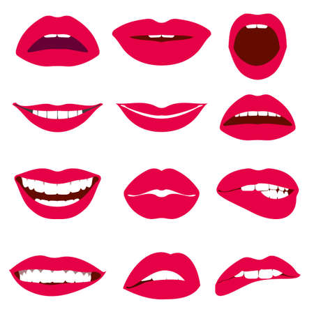 Woman lips expression vector icons set. Female mouth, with red lips illustration