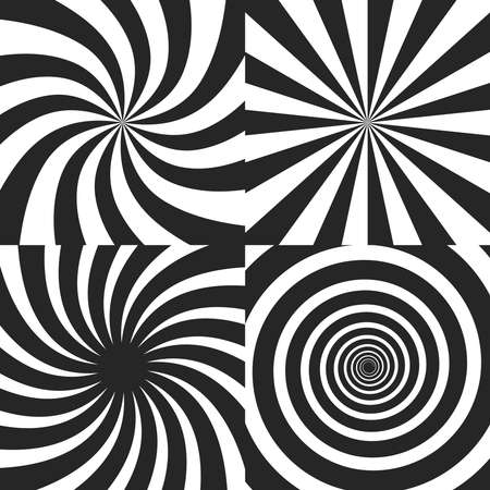 Psychedelic spiral with radial rays, twirl, twisted comic effect, vortex backgrounds - vector set. Psychedelic vortex black white spiral, effect of hypnotic radial swirl vortex illustration