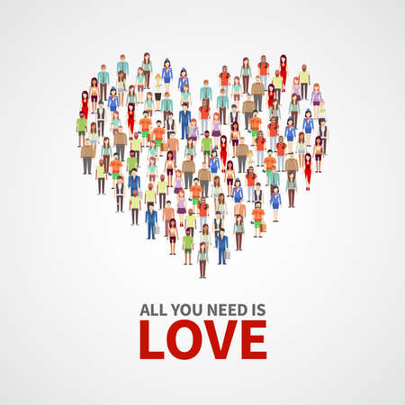 Happy people community, adult persons crowd in heart shape. All you need is love vector poster. Crowd of people, illustration of concept human love