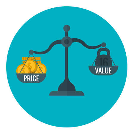 Business measurement of price and value with scale, pricing for profit vector concept. Compare price and value on scale, illustration of finance scale measurement