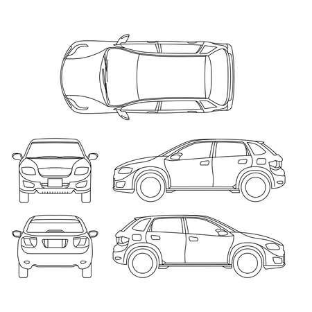 Offroad suv auto outline vector vehicle. Car model suv, illustration of suv automobile blueprint scheme Ilustracje wektorowe