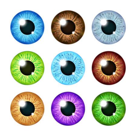 Realistic multi colored eyeball iris pupils set. Human color eyeball, illustration of eyeball green and blue Ilustración de vector