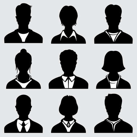 Woman and man head silhouettes, anonymous person vector icons. Anonymous person male and female, icon of person avatar illustration