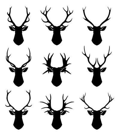 Deer horns, reindeer heads vector silhouettes set. Animal deer black silhouette, illustration of wild deer
