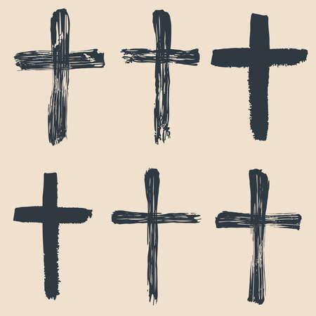 Grunge religious, baptism, christian crosses, crucifix symbols vector graphic paint set. Crucifix christian conceptual symbol illustration