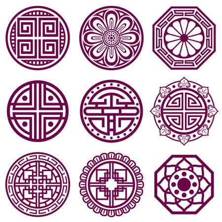 Korean ornament, asian traditional vector symbols, bathroom pattern. Round elements in traditional korean style, illustration of korean tattoo