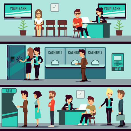 Bank office interior with people, clients and bank clerks vector flat banking concept. Bank office finance with cashier and consulting, bank interior illustration Vettoriali