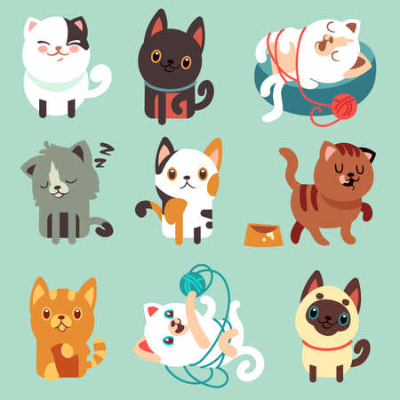 Cute cartoon cats, funny playful kittens vector set. Pet funny kitty, illustration of character happy play kitten