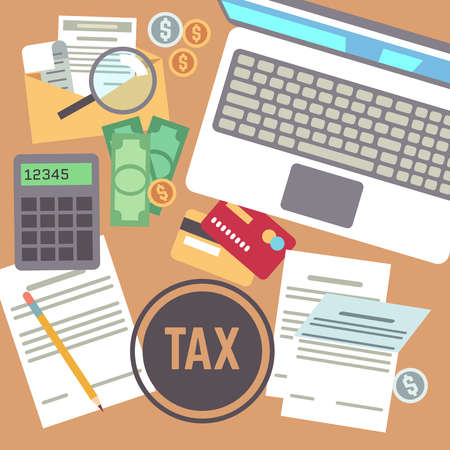 Tax payment, savings, calculation, income declaration, taxation, state taxes flat vector concept. Tax paper business, illustration of accounting tax document Vetores