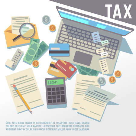 Tax calculation, financial report, accounting taxation consultation, payment of debt vector background. Tax business concept, illustration of paper tax declaration