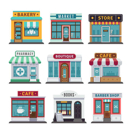 Retail business urban shop, store. Market and bakery, cafe and boutique store, vecto barber shop illustration
