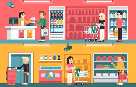 Shopping people and counter in super market interior, retail vector concepts set. Supermarket store indoor, illustration of interior supermarket with seller and cashier