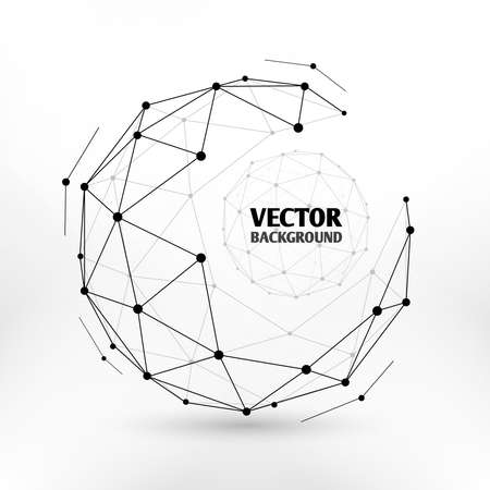 Broken connection network 3d polygon wireframe sphere technology vector illustration. Connect dots in sphere, illustration of network sphere design