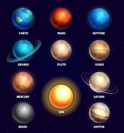 Planets of solar system and sun education vector illustration. Planets of olar system for design planetarium Vektoros illusztráció