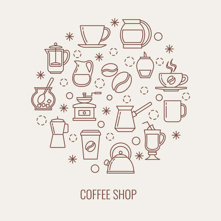 Coffee thin line vector icons set in a circle. Illustration of drink coffee concept Vettoriali