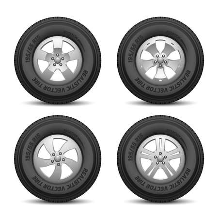 Truck and car wheels with tires and disk vector illustration. Car disk isolated and rubber black tyre car