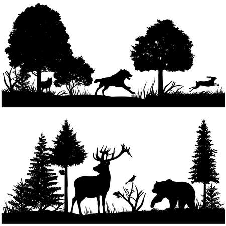 Wild animals silhouettes in green fir forest vector illustration. Silhouette of animal in nature, wood tree pine and animals