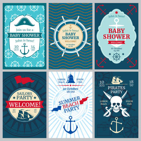 Nautical baby shower, birthday, beach party vector invitation cards. Template of nautical banner for birthday party, illustration of birthday poster Vector Illustratie