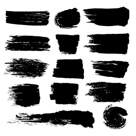 Black paint brush strokes, dirty inked grunge vector art brushes. Creative sketch brush stroke, illustration of brush stain line Vector Illustration
