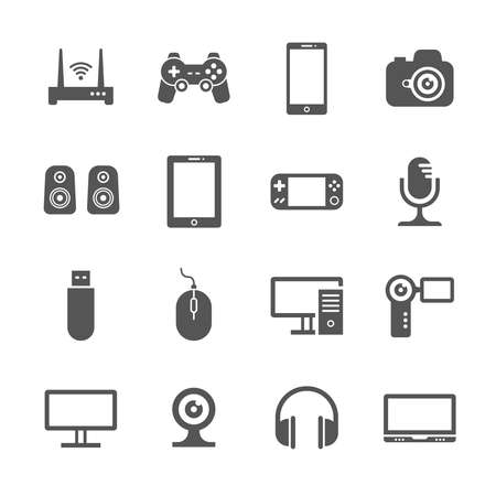 Computer gadgets and handheld digital device vector icons. Electronic device video and audio, illustration of gadget device Vetores