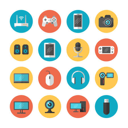 Electronic gadgets and device flat vector icons. Device phone and web camera, illustration of computer device and tablet