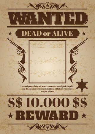 Vintage wanted western poster with blank space for criminal photo. Vector mockup wanted banner with frame photo, wanted retro message illustration Vector Illustratie