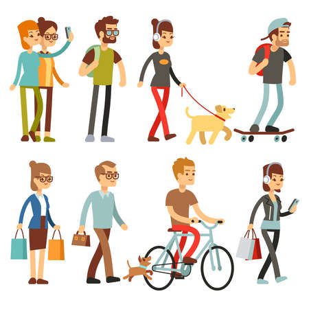 Walking people. Human persons on street in outdoor activity vector set. People woman and man, illustration of people walking and cycling Ilustración de vector