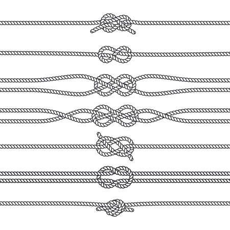 Sailing knots horizontal borders or deviders. Vector marine decorations. Nautical knots, illustration of rope twisted knot Vektorgrafik