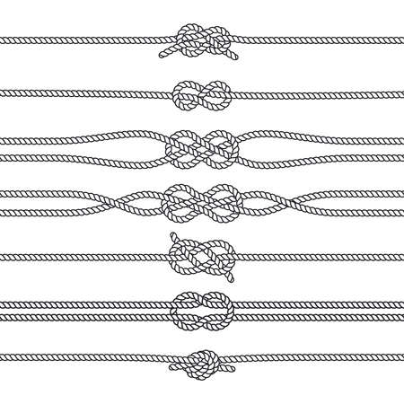 Sailing knots horizontal borders or deviders. Vector marine decorations. Nautical knots, illustration of rope twisted knot Vector Illustratie