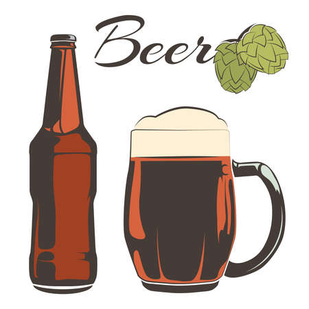 Vintage beer set - bottle and goblet with hops. Drink glass beer. Vector illustration