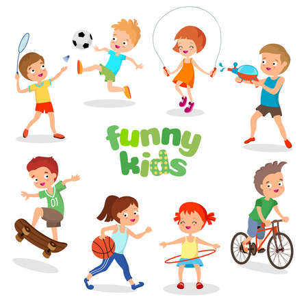 Uniformed happy kids playing sports. Active children vector characters. Happy kids cartoon, illustration of character sport kids