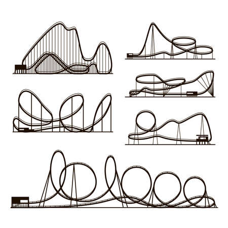 Rollercoaster vector vector black silhouettes isolated on white. Amusement park icons. Rollercoaster for amusement park, illustration of roller-coaster Vektorové ilustrace