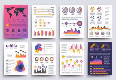 Graphical business report vector template with modern style charts and graphs. Info chart template of set, colored infographic chart and graph illustration Vetores
