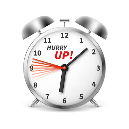 Hurry up vector concept background with alarm clock. Illustration of clock and time, hurry up alarm Vector Illustratie