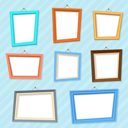 Vector cartoon photo picture creative wall frames. Frame empty gallery, illustration of photo frame blank