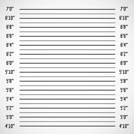 Blank criminal police lineup or mug shot vector background. Police wall for height line up photography illustration Vettoriali