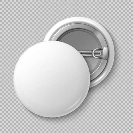 White blank badging round button badge isolated vector template. Souvenir badge mockup, illustration of badge for advertising