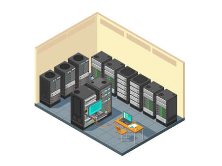 Isometric network server room with row of computer equipments. Data center support hardware with servers vector illustration