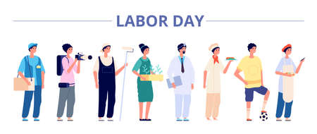Labor day. International industrial workers group, people professional careers. Different girls boys on job banner, may holiday vector flyer. Illustration labor day, different occupation