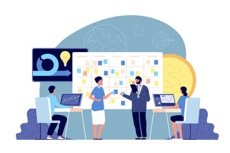 Agile development project. Business management, brainstorm and task board. Company scrum working methodology, office team vector. Illustration agility project, professional development methodology
