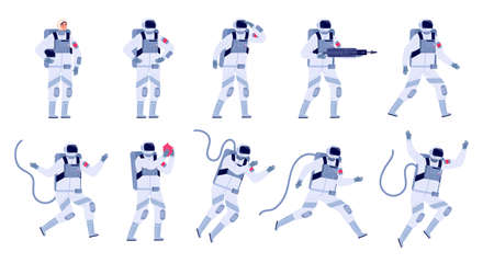 Cartoon astronaut. Flat astronauts group, astronomy party characters. Spaceman costume design, adult cosmonaut in universe utter vector set. Illustration space astronaut, spaceman cartoon