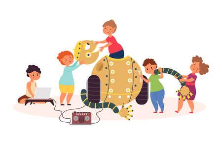 Robotics. Children coding robot, child technology school education. Modern lesson, team programming toy on computer decent vector concept. Illustration children programming robot