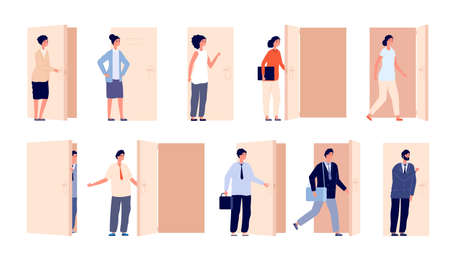 People at door. Open doors, business man opened entry or exit. Cartoon women men looking or peeking, boss watching from aisle utter vector set. Illustration open door, person in doorway
