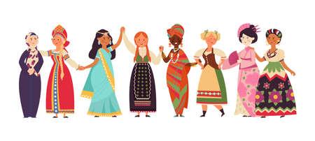Diverse women together. Black women, diverse girls empowerment. Female community, sisterhood, feminism or friends support decent vector concept. Illustration female group together, women feminism