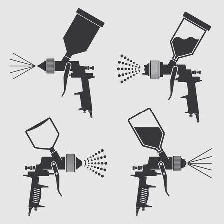 Auto body industrial painting spray gun vector icons. Auto paint spray, airbrush equipment gun illustration Векторная Иллюстрация